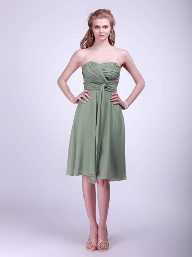 Sweetheart A-line Knee-length Chiffon Pleats Bridesmaid Dresses #DOB02042133