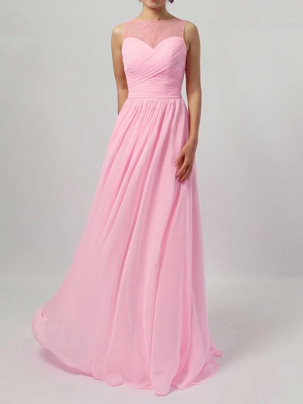 Lace Chiffon A-line Scoop Neck Floor-length Ruffles Bridesmaid Dresses #DOB01013478