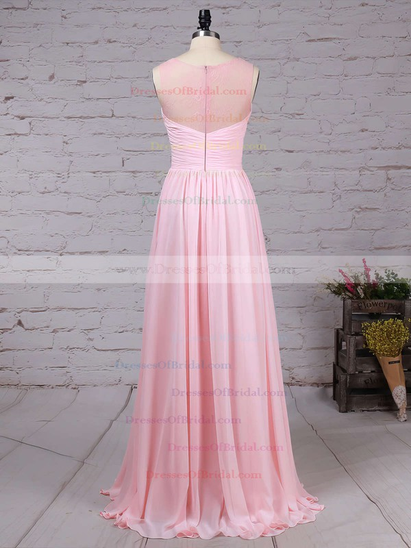 Lace Chiffon A-line Scoop Neck Floor-length Ruffles Bridesmaid Dresses #DOB01013478