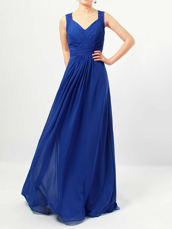 Chiffon A-line V-neck Floor-length Lace Bridesmaid Dresses #DOB01013483