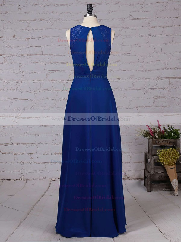 Chiffon A-line V-neck Floor-length Lace Bridesmaid Dresses #DOB01013483