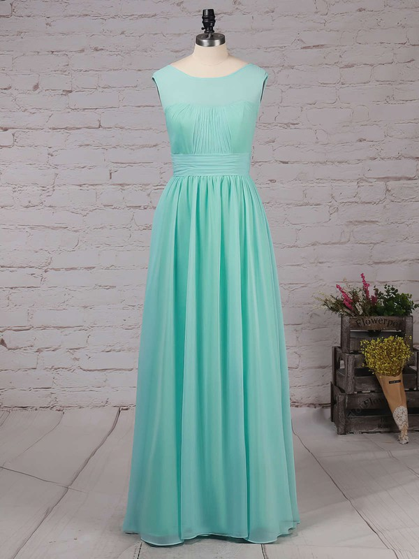 Chiffon A-line Scoop Neck Floor-length Ruffles Bridesmaid Dresses #DOB01013486