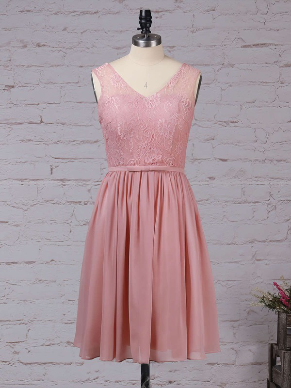 Lace Chiffon A-line V-neck Knee-length Sashes / Ribbons Bridesmaid Dresses #DOB01013497