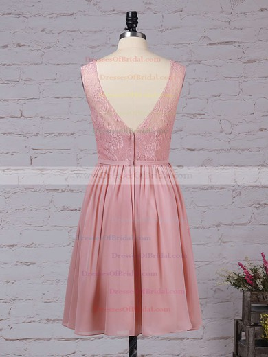 Lace Chiffon A-line V-neck Knee-length Sashes / Ribbons Bridesmaid Dresses #DOB01013497