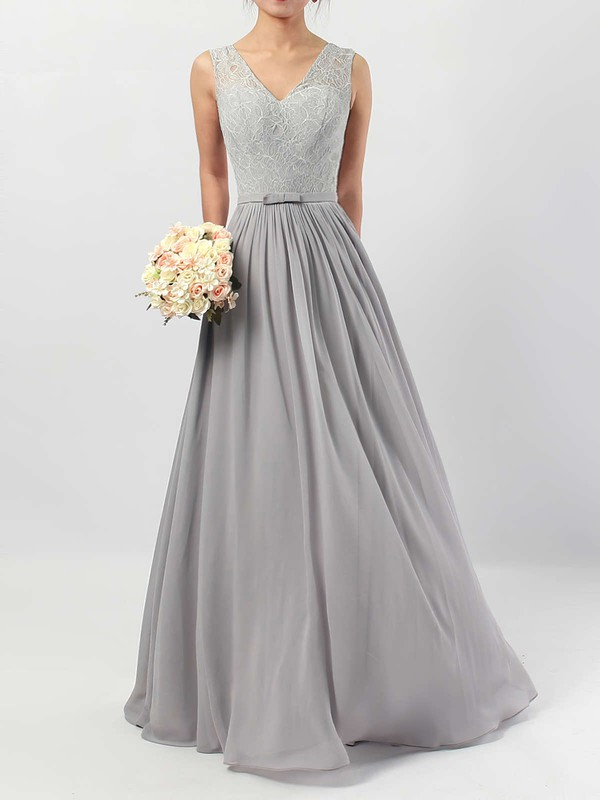 Lace Chiffon A-line V-neck Floor-length Sashes / Ribbons Bridesmaid Dresses #DOB01013498