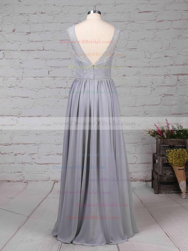 Lace Chiffon A-line V-neck Floor-length Sashes / Ribbons Bridesmaid Dresses #DOB01013498