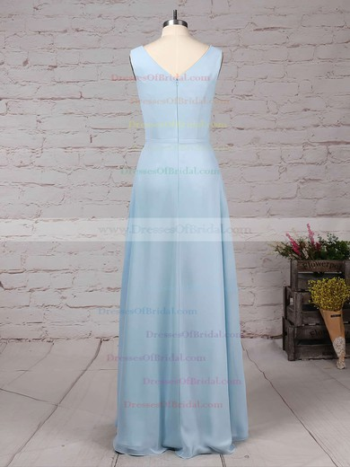 Chiffon A-line V-neck Floor-length Ruffles Bridesmaid Dresses #DOB01013499