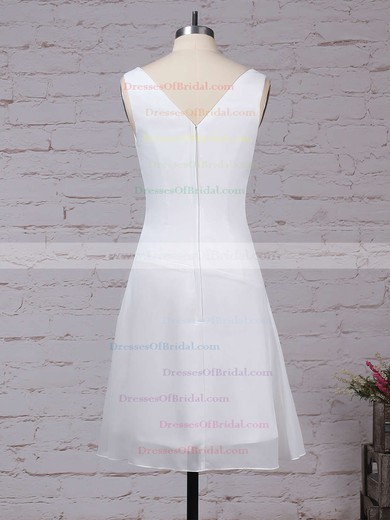 Chiffon A-line V-neck Knee-length Ruffles Bridesmaid Dresses #DOB01013500