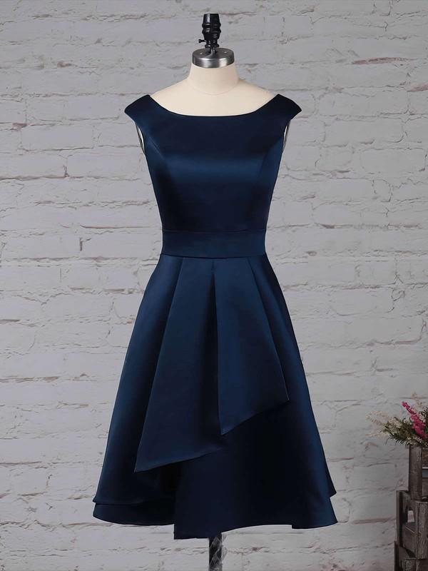 Satin Chiffon A-line Scoop Neck Knee-length Cascading Ruffles Bridesmaid Dresses #DOB01013504