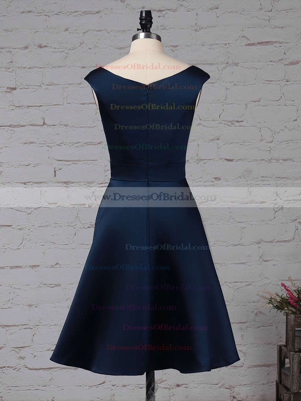 Satin Chiffon A-line Scoop Neck Knee-length Cascading Ruffles Bridesmaid Dresses #DOB01013504