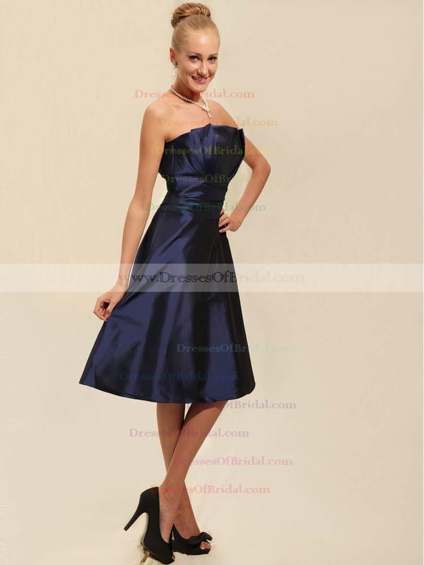 Strapless A-line Tea-length Taffeta Ruched Bridesmaid Dresses #DOB02042134