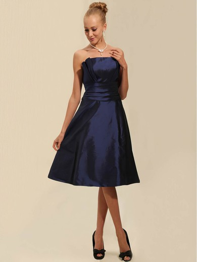 Strapless A-line Tea-length Taffeta Ruched Bridesmaid Dresses #DOB02042134