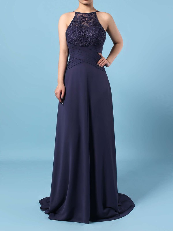Lace Chiffon A-line Scoop Neck Sweep Train Bow Bridesmaid Dresses #DOB01013505
