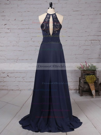 Lace Chiffon A-line Scoop Neck Sweep Train Bow Bridesmaid Dresses #DOB01013505