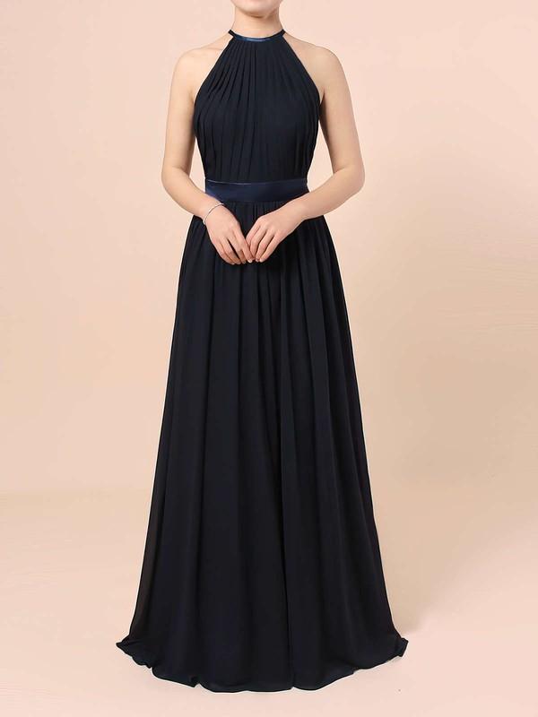Chiffon A-line Scoop Neck Floor-length Sashes / Ribbons Bridesmaid Dresses #DOB01013506