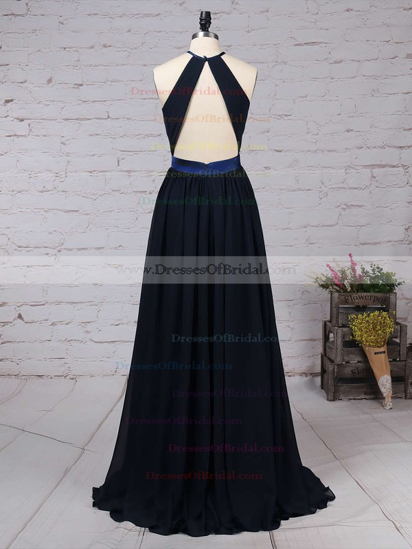 Chiffon A-line Scoop Neck Floor-length Sashes / Ribbons Bridesmaid Dresses #DOB01013506