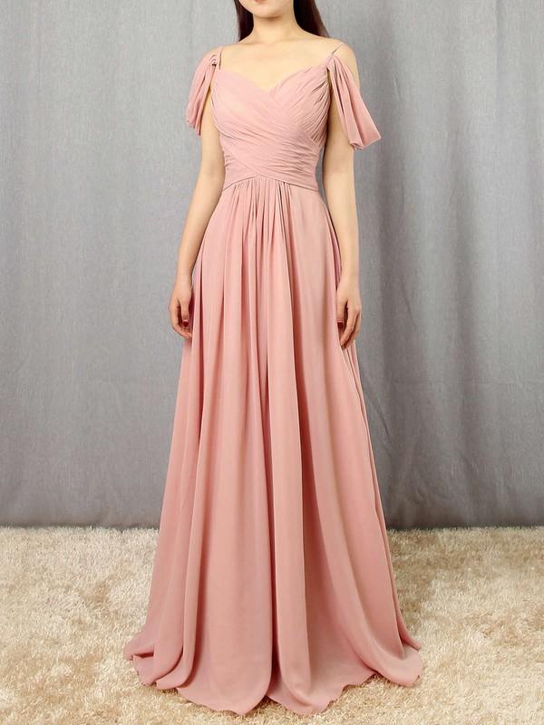 Chiffon Empire V-neck Floor-length Ruffles Bridesmaid Dresses #DOB01013507