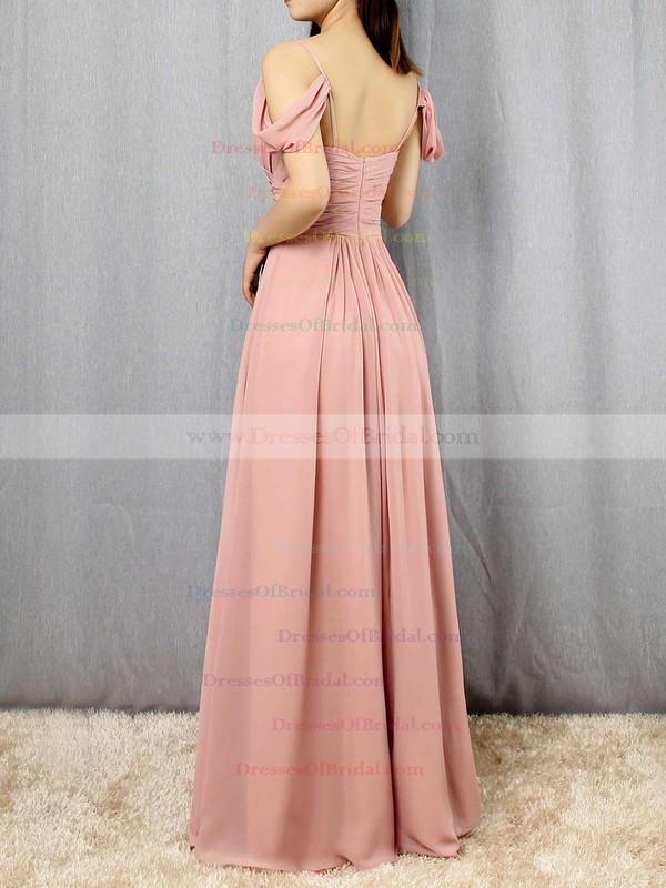 Chiffon Empire V-neck Floor-length Ruffles Bridesmaid Dresses #DOB01013507