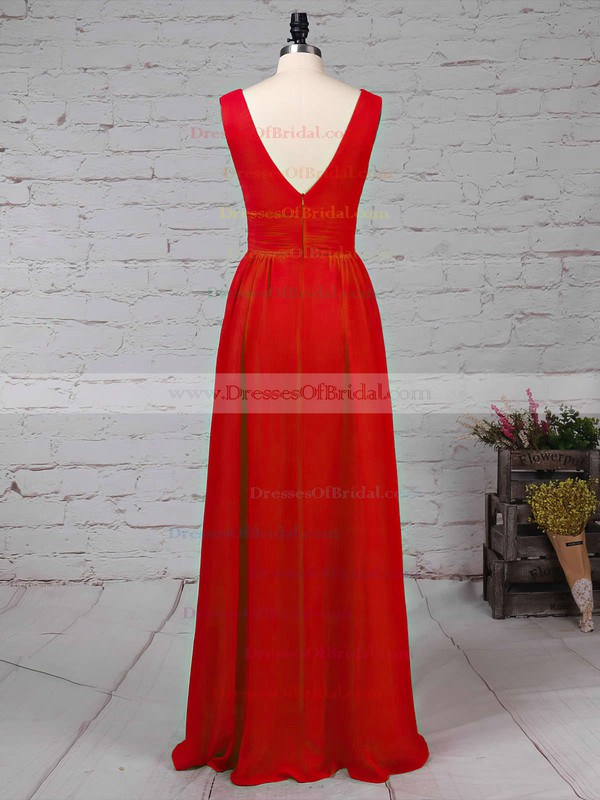Chiffon A-line V-neck Floor-length Ruffles Bridesmaid Dresses #DOB01013511