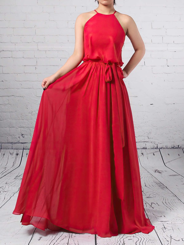 Chiffon A-line Scoop Neck Floor-length Sashes / Ribbons Bridesmaid Dresses #DOB01013512