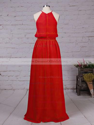 Chiffon A-line Scoop Neck Floor-length Sashes / Ribbons Bridesmaid Dresses #DOB01013512