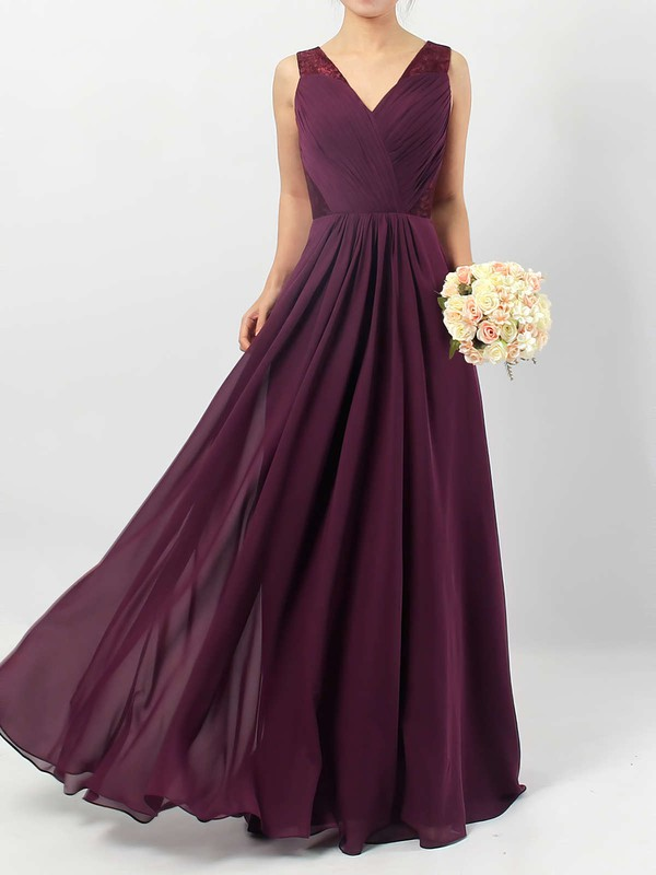 Lace Chiffon A-line V-neck Floor-length Ruffles Bridesmaid Dresses #DOB01013513