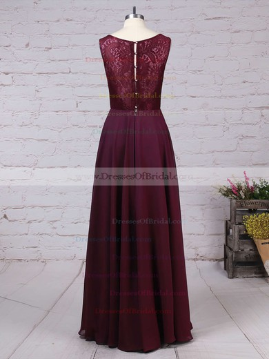 Lace Chiffon A-line V-neck Floor-length Ruffles Bridesmaid Dresses #DOB01013513