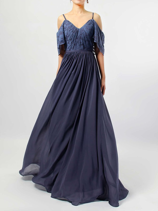 Lace Chiffon A-line V-neck Floor-length Ruffles Bridesmaid Dresses #DOB01013514