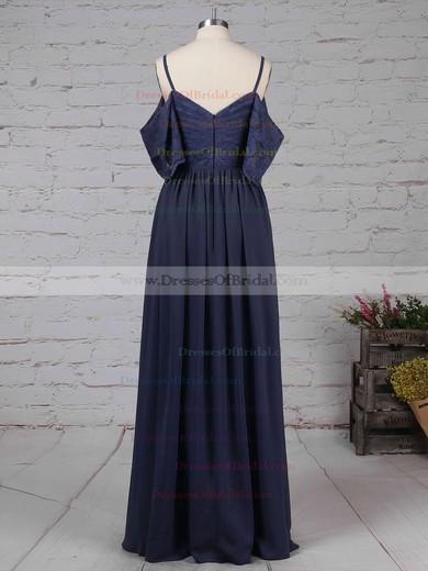 Lace Chiffon A-line V-neck Floor-length Ruffles Bridesmaid Dresses #DOB01013514