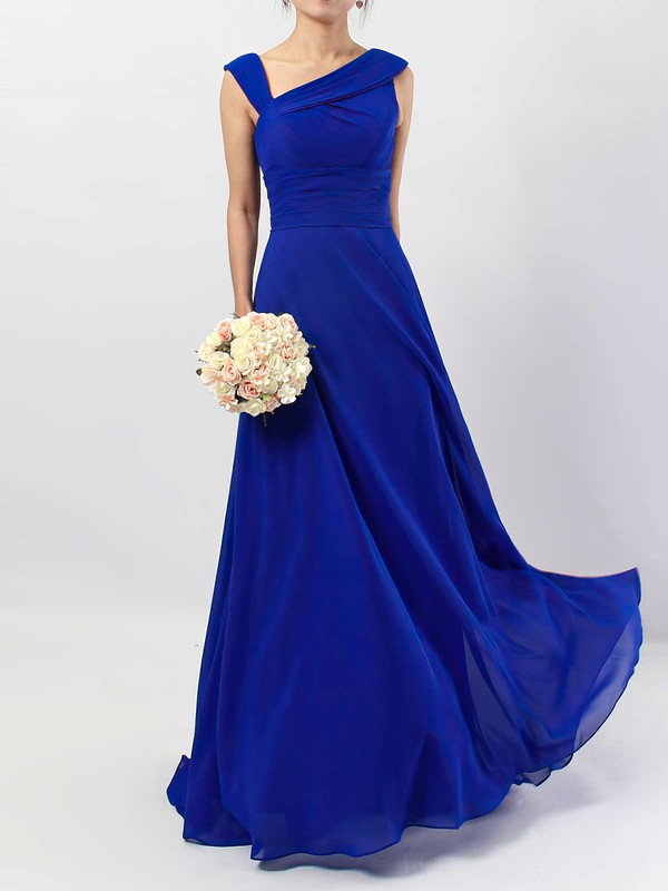 Chiffon A-line V-neck Floor-length Ruffles Bridesmaid Dresses #DOB01013522