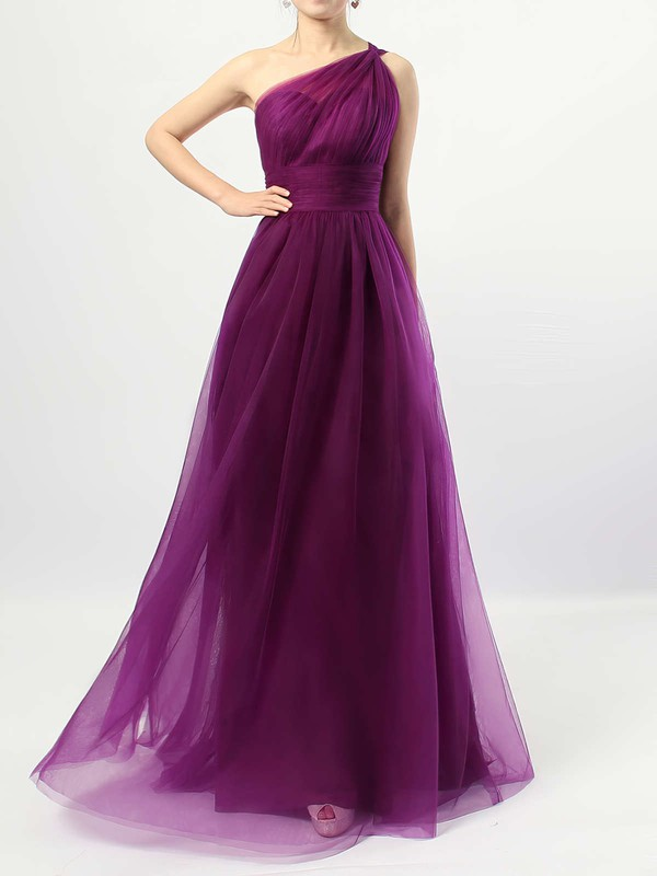 Tulle A-line One Shoulder Floor-length Ruffles Bridesmaid Dresses #DOB01013523