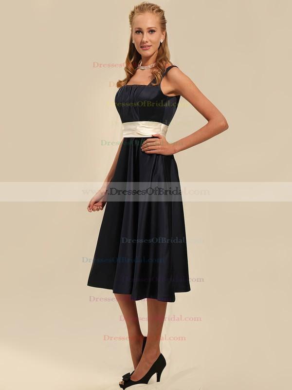Square A-line Tea-length Satin Sashes/Ribbons Bridesmaid Dresses #DOB02042135