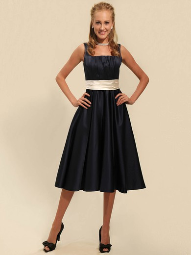 Square A-line Tea-length Satin Sashes/Ribbons Bridesmaid Dresses #DOB02042135