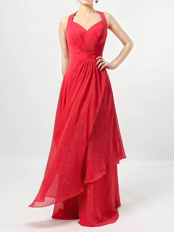 Chiffon A-line V-neck Floor-length Ruffles Bridesmaid Dresses #DOB01013526