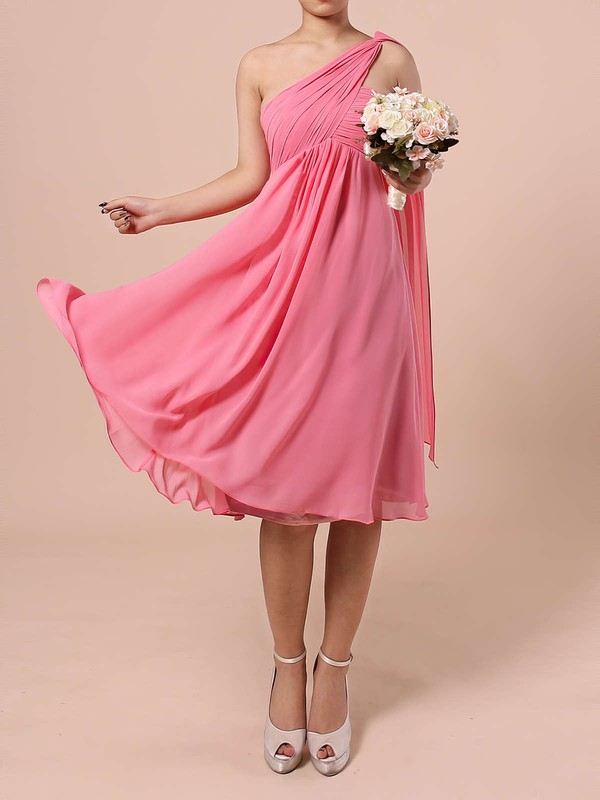 Chiffon Empire One Shoulder Knee-length Ruffles Bridesmaid Dresses #DOB01013527