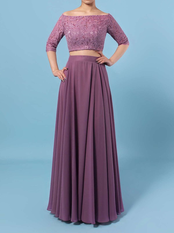 Lace Chiffon A-line Off-the-shoulder Floor-length Bridesmaid Dresses #DOB01013529