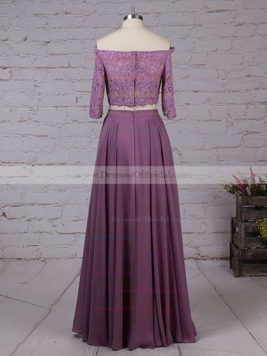 Lace Chiffon A-line Off-the-shoulder Floor-length Bridesmaid Dresses #DOB01013529