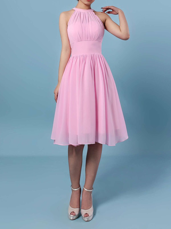 Chiffon A-line Scoop Neck Knee-length Ruffles Bridesmaid Dresses #DOB01013530