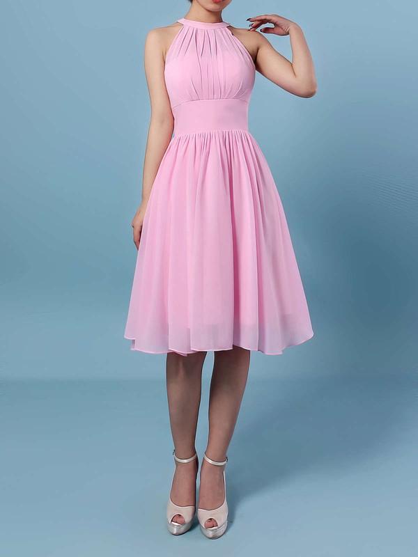 Chiffon A-line Scoop Neck Knee-length Ruffles Bridesmaid Dresses #DOB01013530