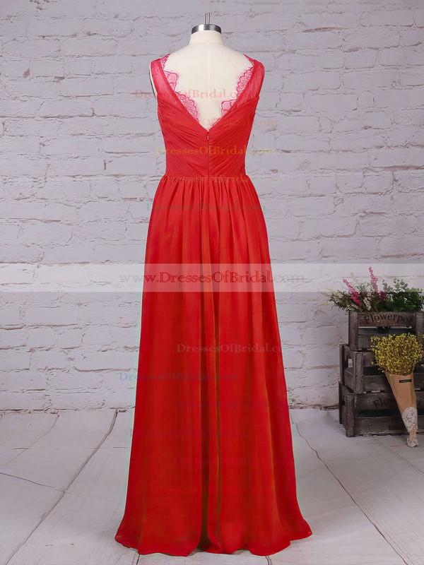 Chiffon A-line V-neck Ankle-length Lace Bridesmaid Dresses #DOB01013532