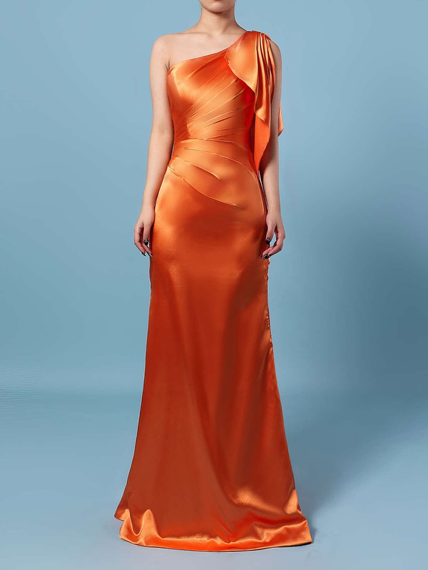 Silk-like Satin Sheath/Column One Shoulder Floor-length Ruffles Bridesmaid Dresses #DOB01013534