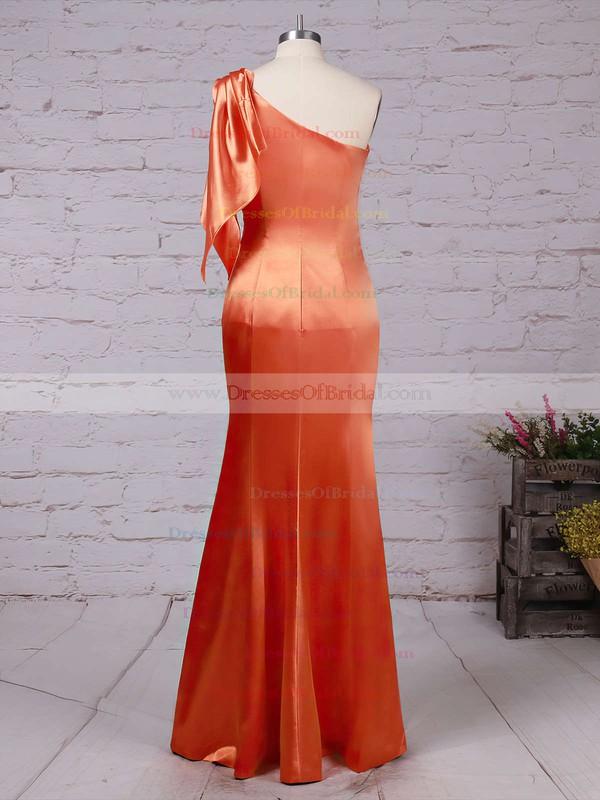 Silk-like Satin Sheath/Column One Shoulder Floor-length Ruffles Bridesmaid Dresses #DOB01013534