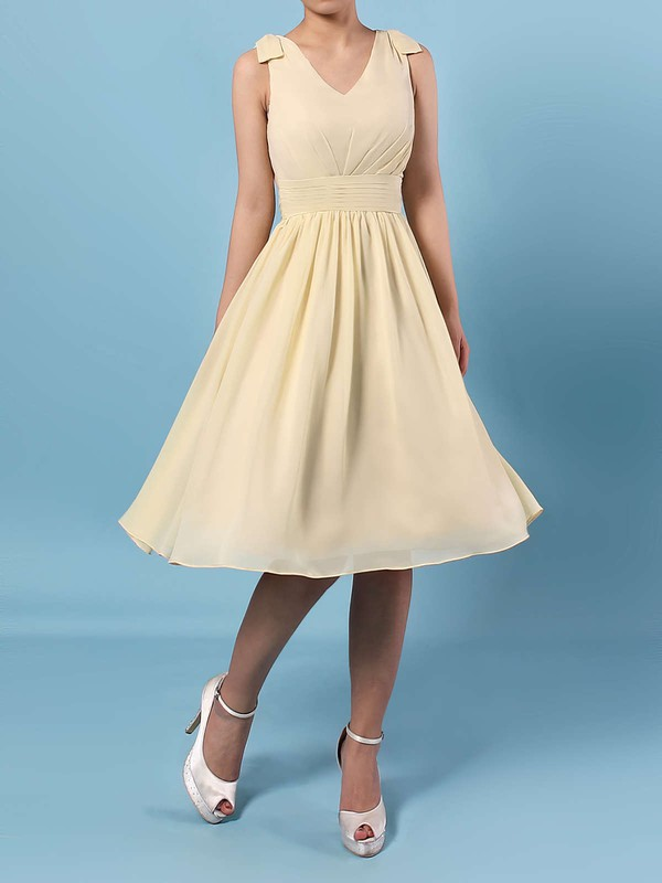 Chiffon A-line V-neck Knee-length Sashes / Ribbons Bridesmaid Dresses #DOB01013536