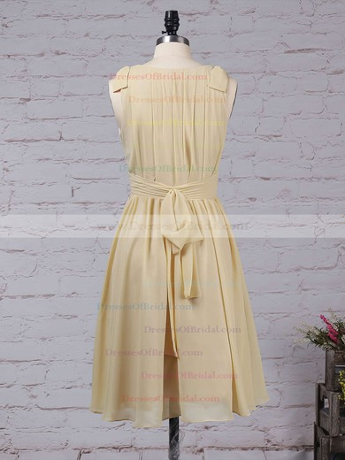 Chiffon A-line V-neck Knee-length Sashes / Ribbons Bridesmaid Dresses #DOB01013536