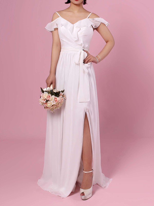 Chiffon A-line V-neck Floor-length Sashes / Ribbons Bridesmaid Dresses #DOB01013537