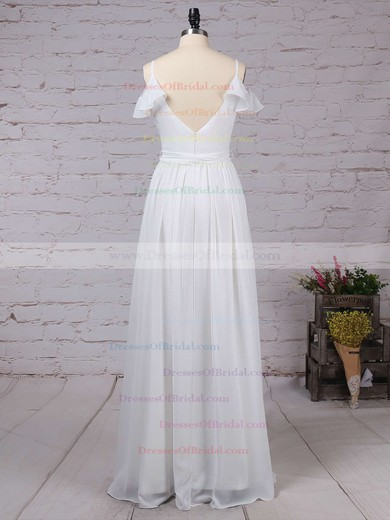 Chiffon A-line V-neck Floor-length Sashes / Ribbons Bridesmaid Dresses #DOB01013537