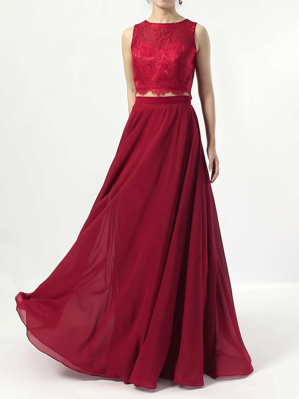 A-line Scoop Neck Lace Chiffon Floor-length Bridesmaid Dresses #DOB01013541