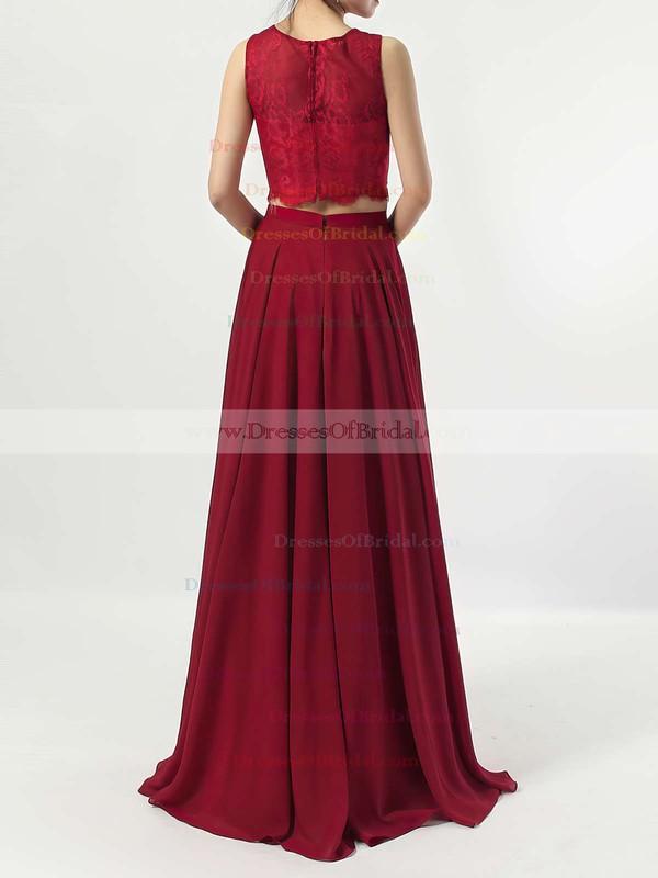 A-line Scoop Neck Lace Chiffon Floor-length Bridesmaid Dresses #DOB01013541