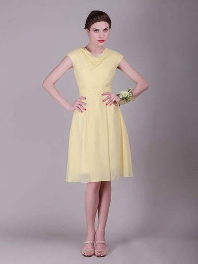 Cowl A-line Knee-length Chiffon Pleats Bridesmaid Dresses #DOB02042136