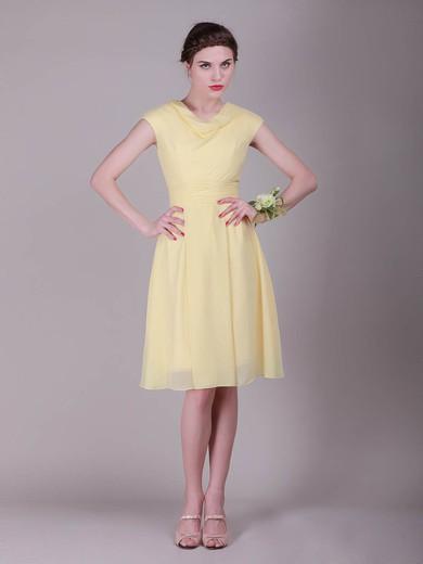Cowl A-line Knee-length Chiffon Pleats Bridesmaid Dresses #DOB02042136